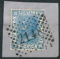 ITALY - Regno 1867 - Vittorio Eman II - 20 Cent  Fancy Cancel Numeral Used Lot#231 - 1861-78 Vittorio Emanuele II