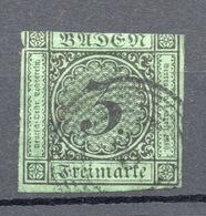 1853  BADEN  3 K.  Verde Chiaro - Bade