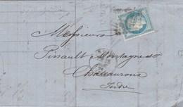 Yvert 60A Cérès Sur Lettre Entête Crédit Agricole Cachet LE MANS Sarthe Du 25/11/1871 Pour Chateauroux - Ambulant - Marcofilie (Brieven)