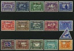 DIENST D 44-59 *, 1930, Allthing, Falzreste, Prachtsatz, Facit 6500.- Skr. - IJsland