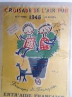Affiche Ancienne De VILLEMOT - Croisade Air Pur 1946,  François Et Françoise - Aide Enfance Pour Les Vacances - Affiches
