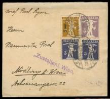Switzerland - XX. 1916 (22 July). Leysin - Austria. 3c Violet Stat Wrapper + 3 Adtls + Violet Cachet Arrival. - Switzerland
