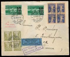 """Switzerland - XX. 1935 (21 April). Geneve - Oisium. Multifkd Air Tried Env With Violet Cachet """"""""Kein Fluganschluss / Wei - Switzerland"""