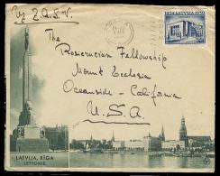 LATVIA. 1939 (8 Aug). Riga - USA. Ilustrated Fkd Env. Tourism. - Latvia