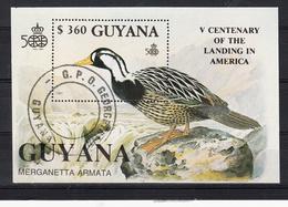 Guyana 1991 Mi Nr Blok 127, Bird, Bergbeekeend, Torrent Duck, Ontdekking Van Amerika - Guyana (1966-...)