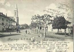 Bons  74    La Place Et L'Eglise Et Rue Animée Attelage - Autres Communes