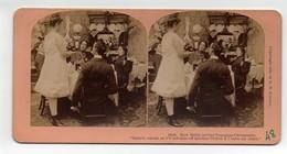 Ancienne CARTE Vue Stéréoscopique Kilburn Girl How Biddy Served Tomatoes Undressed Repas Couple Restaurant - Stereoscopio