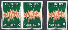 EUROPA 1972 Andorra 71 Plus Paar ** 180€ Spanische Post Symbol Gemeinsame Sterne/Himmel ESPANA Stamps Stars CEPT - Europa-CEPT