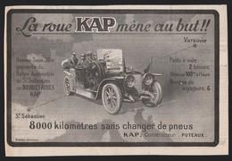Pub 1913 Automobile HISPANO SUIZA Voiture Tacot Traction  Pneu KAP Puteaux Rallye De Saint Sébastien Varsovie - Publicités