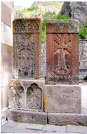 Arménie. Armenia. Geghard Monastery - Monastère. 2 Cross Stones. 2 Pierres-croix. 2 Khachkar. - Armenia