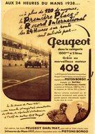24 Heures Du Mans 1938  -  Peugeot 402 Darl'Mat  -  Publicité -  Carte Postale - Le Mans