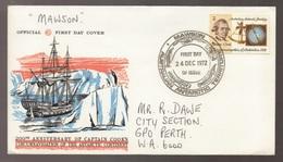 1972 Australia Antarctic AAT Captain Cook MAWSON Base Cancel WCS FDC - FDC