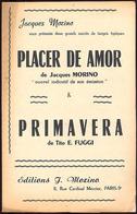 """(09123) Partitions """" Placer De Amor ; Primavera """".    """" En Baisse """" - Non Classés"""