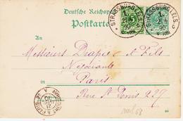 France, Entier Allemand  Avec Complément Concordant De Strasbourg ( Elsas) En 1890  TB - Elsass-Lothringen