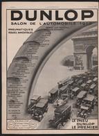 Pub Papier 1913 Automobile Pneu DUNLOP Salon Automobiles Voitures Autobus Camions Livraison Dos Paquebot Ile De France - Pubblicitari