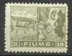 Fiume - 1919 Flag Waving 10 Cor MH *    Mi 48   Sc 43 - Fiume