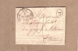 DRÔME - DE DIE A CREST , CAD TYPE 13 DIE + CAD TYPE 13 CREST + TAXE + 10 PERFORATIONS ?? - 1837 - Marcophilie (Lettres)
