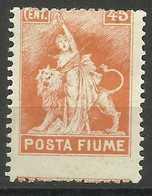 Fiume - 1919 Allegory (Posta Fiume) 45c MH *   Mi 66  Sc 50 - Fiume