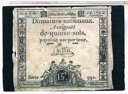 MONNAIES FRANCE  ASSIGNAT BILLET DE 15 SOLS - Monnaies (représentations)