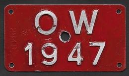 Velonummer Obwalden OW 47 - Plaques D'immatriculation