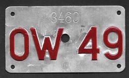 Velonummer Obwalden OW 49 - Plaques D'immatriculation