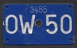 Velonummer Obwalden OW 50 - Plaques D'immatriculation