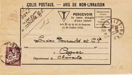 France, Sur Avis De Non Livraison, 50 C De Lille Gare  En 1935 TB - Portomarken