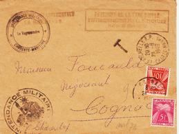 France, Sur Lettre En Franchise  Simple Taxe , 15 F En 1949 La Rochelle à Cognac TB - Portomarken