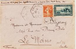 France, Agence Postale Sur Cuirassier Jean Bart En 1933 Aff Mixte Maroc / France TB - Poststempel (Briefe)