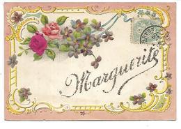 PRENOM - MARGUERITE - Carte Gaufrée Et Pailletée - Prénoms