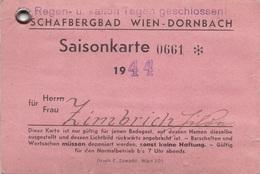 SAISONKARTE Vom SCHAFBERGBAD 1944 In Wien-Dornbach - Eintrittskarten