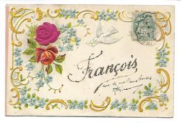 PRENOM - FRANCOIS - Carte Gaufrée Et Pailletée - Prénoms