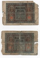 Billet De Banque Allemand Allemagne 100 Hundert Mark Reichsbanknote (2 Billets) - [ 3] 1918-1933 : República De Weimar