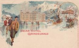 Grindelwald Switzerland, Hotel Bear, Man Ice Skates, Sled Riding, C1890s/1900s Vintage Postcard - BE Berne