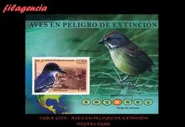 AMERICA. CUBA MINT. 2018 FAUNA. AVES EN PELIGRO DE EXTINCIÓN. HOJA BLOQUE - Neufs