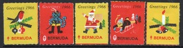 Bermuda  Christmas Charity Labels From 1966 In Mounted Mint Condition. - Cinderellas