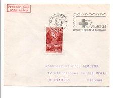 1970 BELLE CONCORDANCE  POUR LE 1 ER JOUR DE LA FLAMME DE POITIERS VIENNE - Marcofilia (sobres)