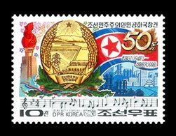 North Korea 1998 Mih. 4070 50th Anniversary Of Founding Of The DPR Korea. State Flag, Arms And Anthem MNH ** - Corée Du Nord