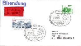 """(Gm3) BRD Sonderstempel-Beleg """"1.Jahrestag Der Wiedervereinigung ..."""" MiF BRD/Deutsche Post SSt 3.10.1991 BERLIN 12 - [7] République Fédérale"""