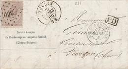 ZZ999 - Lettre TP 19 Losange De Points 360 THULIN 1866 Vers VIERZON - Entete Charbonnage De Longterne-Ferrand à ELOUGES - 1865-1866 Linksprofil
