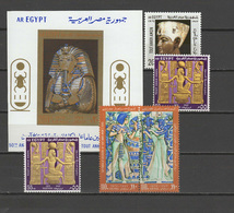 Egypt 1972 Tout Ankh Amon's Tomb 50th Anniversary Set Of 5 + S/s MNH  (55M In Both Types) -scarce- - Egypt