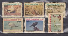 ECUADOR 1977 GALAPAGOS BIRDS RED & BLUE FOOTED BOOBY GULL GALAPAGOS HAWK MAP & GALAPAGOS ISLANDS USED SC# 960-965 - Ecuador