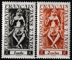 Lot De 2 Timbres-poste Gommés Neufs** - Divintés Apsara - N° 236-237 (Yvert) - Établissements Français Dans L'Inde 1948 - India (1892-1954)