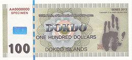 Specimen Île DOKDO Corée 100 Dollars 2013 UNC - Fictifs & Spécimens