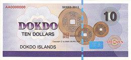 Specimen Île DOKDO Corée 10 Dollars 2013 UNC - Fictifs & Spécimens