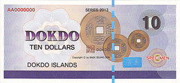 Specimen Île DOKDO Corée 10 Dollars 2013 UNC - Specimen