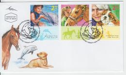 ISRAEL 2009 ANIMAL ASSISTED THERAPY DOLPHIN HORSE DOG BULLDOG  FDC - FDC