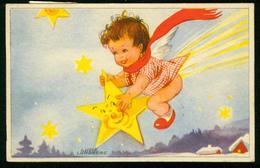 AKx Künstlerkarte Sign. Lucie Lundberg - God Jul Gott Nytt År - 10,9x7 - Kind Auf Stern - Gel. 1944 - Weihnachten