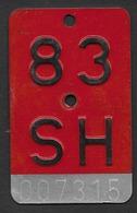 Velonummer Schaffhausen SH 83 - Plaques D'immatriculation