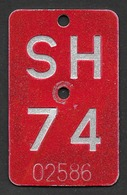 Velonummer Schaffhausen SH 74 - Plaques D'immatriculation